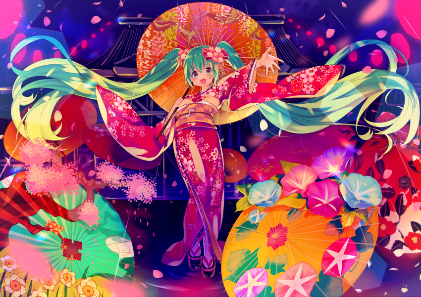 1girl :d absurdres bangs black_footwear blue_eyes blue_flower blush bow checkered cherry_blossoms commentary_request eighth_note eyebrows_visible_through_hair floral_print flower green_hair hair_between_eyes hair_bow hair_flower hair_ornament hatsune_miku highres holding holding_umbrella ikari_(aor3507) japanese_clothes kimono long_hair musical_note obi open_mouth orange_umbrella oriental_umbrella outstretched_arm petals pink_flower print_kimono purple_flower red_bow red_kimono sash sidelocks smile socks solo tabi twintails umbrella very_long_hair vocaloid white_legwear wide_sleeves zouri
