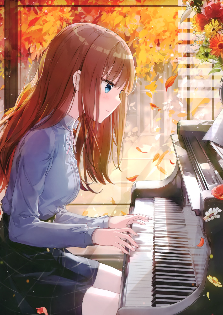 1girl absurdres autumn autumn_leaves bangs black_skirt blue_eyes blue_shirt blush bolo_tie breasts brown_hair buttons collared_shirt eyebrows_visible_through_hair falling_leaves falling_petals flower fuumi_(radial_engine) high-waist_skirt highres indoors instrument leaf leaning_forward light light_particles long_hair long_sleeves medium_breasts music original petals piano playing_instrument playing_piano profile scan sheet_music shiny shirt shutter sitting skirt smile solo striped striped_legwear transparent tree vase window window_shade