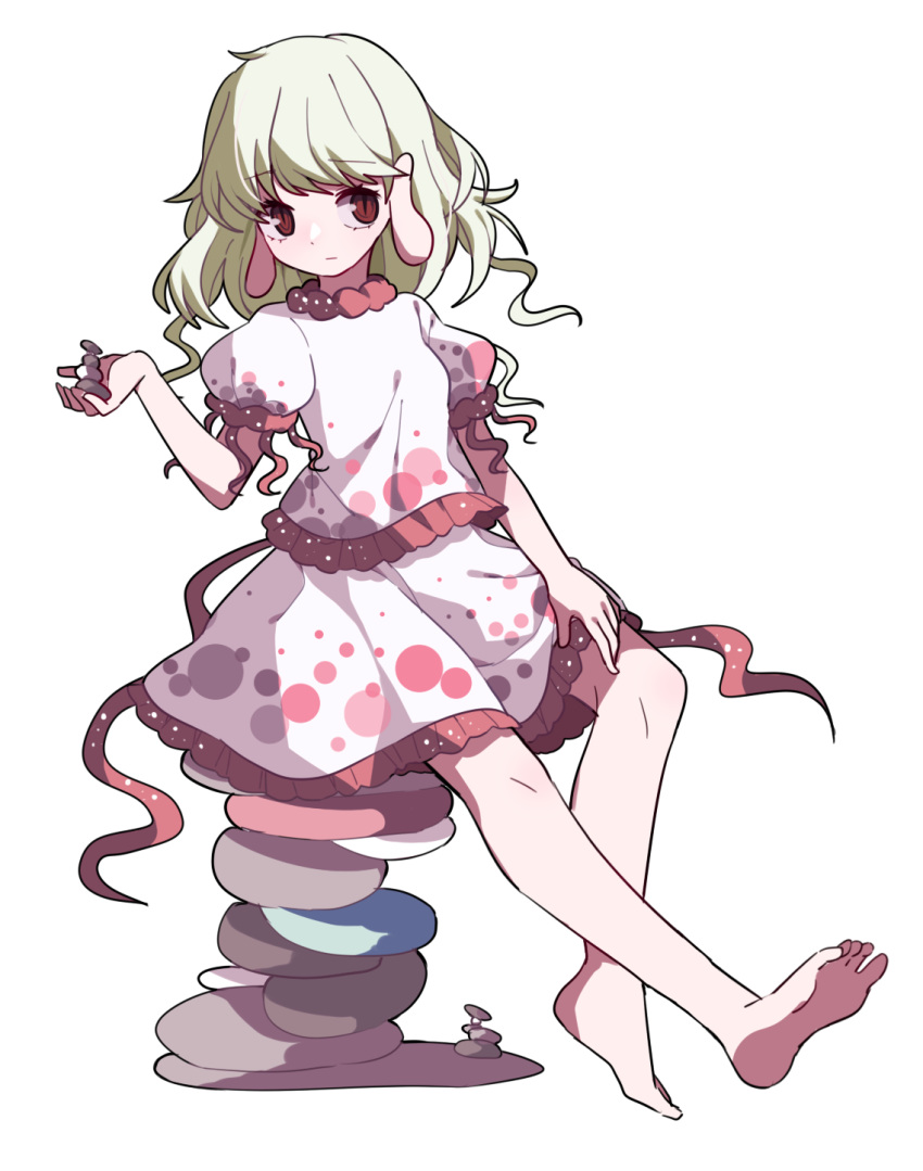 1girl bangs barefoot blonde_hair closed_mouth earlobes ebisu_eika expressionless eyebrows_visible_through_hair frilled_shirt frilled_skirt frills full_body gla hand_up highres medium_hair pebble puffy_short_sleeves puffy_sleeves red_eyes shirt short_sleeves sitting skirt skirt_set slit_pupils solo stone touhou transparent_background