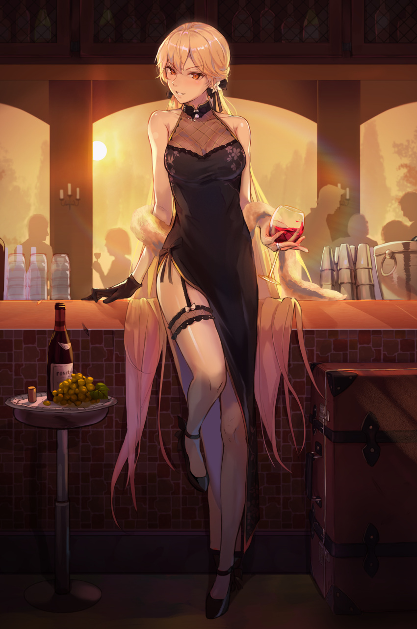 1girl alcohol bare_arms bare_legs bare_shoulders black_dress blonde_hair bottle bucket china_dress chinese_clothes cocktail_dress counter cup dress drinking_glass feather_boa flower food fruit full_body garter_straps girls_frontline gloves grapes high_heels highres jewelry leg_garter long_dress long_hair looking_at_viewer luggage niac ots-14_(girls_frontline) pearl_(gemstone) ribbon ring silhouette single_glove sleeveless sleeveless_dress smile wine wine_bottle wine_glass yellow_eyes