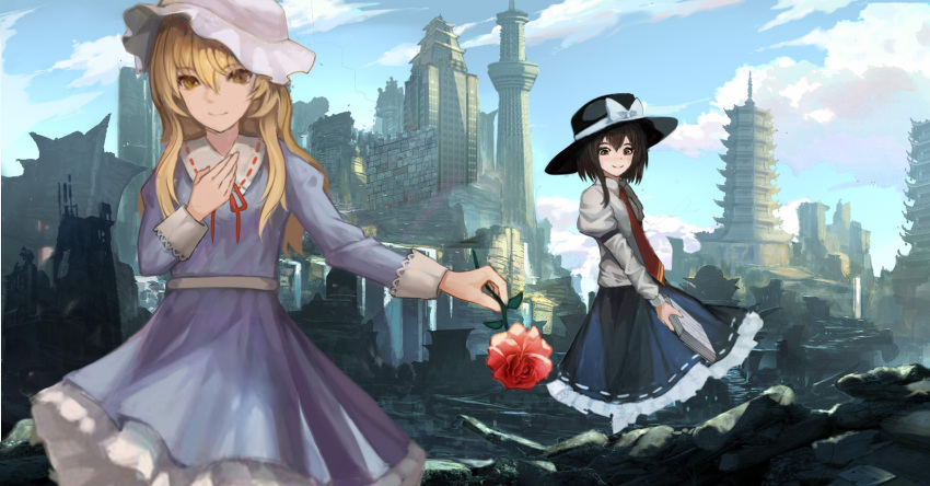 2girls armband arms_up belt black_eyes black_headwear black_skirt blonde_hair blue_dress blue_sky book building city clouds commentary_request cowboy_shot day debris dress flower gudadan hand_on_own_chest hat hat_ribbon highres holding holding_book holding_flower juliet_sleeves long_hair long_sleeves looking_at_viewer maribel_hearn mob_cap multiple_girls necktie outdoors outstretched_arm pagoda petticoat puffy_sleeves red_flower red_neckwear red_rose ribbon rose ruins shirt skirt sky skyscraper smile standing symbol_commentary touhou tower usami_renko water waterfall white_headwear white_legwear white_shirt yellow_eyes