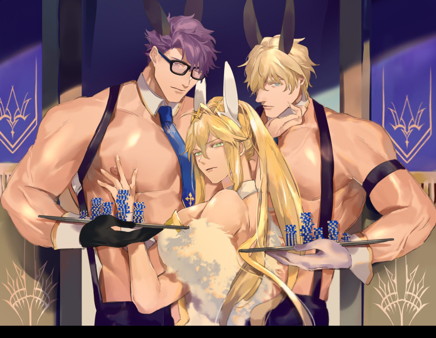 1girl 2boys artoria_pendragon_(all) artoria_pendragon_(swimsuit_ruler)_(fate) black_gloves black_pants blue_eyes blue_neckwear boy_sandwich bunny_boy bunny_girl bunnysuit chippendales fate/grand_order fate_(series) gawain_(fate/extra) glasses gloves green_eyes hand_on_another's_chest height_difference highres lancelot_(fate/grand_order) leotard long_hair looking_at_viewer multiple_boys muscle nari_(kal_brot) necktie nipples pants poker_chip ponytail sandwiched shirtless suspenders tray violet_eyes white_gloves white_leotard