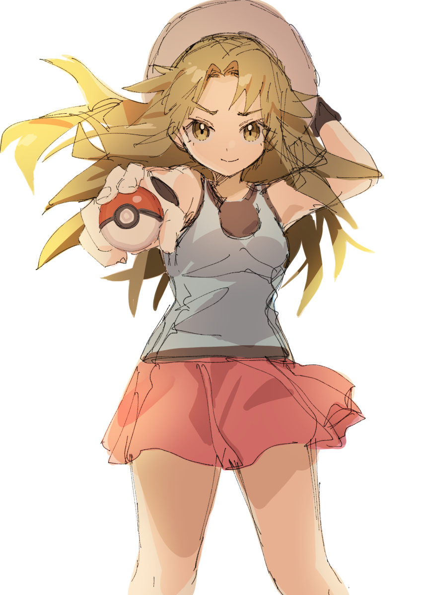 1girl adjusting_headwear ankea_(a-ramo-do) arms_up bangs bare_shoulders blue_(pokemon) blue_shirt breasts brown_eyes brown_hair closed_mouth hair_intakes happy highres holding holding_poke_ball long_hair looking_at_viewer miniskirt outstretched_arm poke_ball poke_ball_(generic) pokemon pokemon_(game) pokemon_frlg red_skirt shiny shiny_hair shirt simple_background sketch skirt sleeveless sleeveless_shirt small_breasts smile solo standing white_background white_headwear wristband