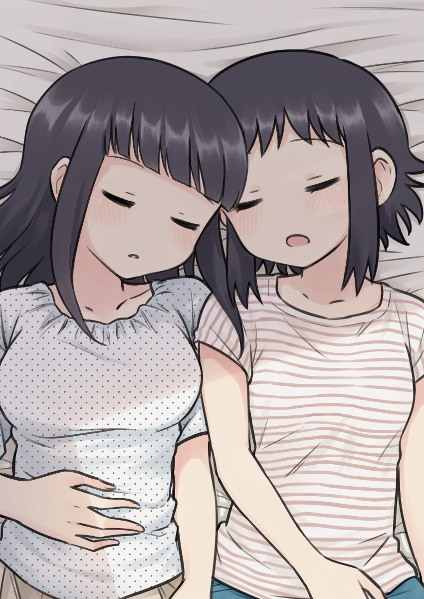 2girls absurdres bernard-jou_iwaku. black_hair blush closed_eyes hand_on_own_stomach highres kanbayashi_shiori machida_sawako meis_(terameisu) multiple_girls open_mouth shirt side-by-side sleeping striped striped_shirt t-shirt yuri