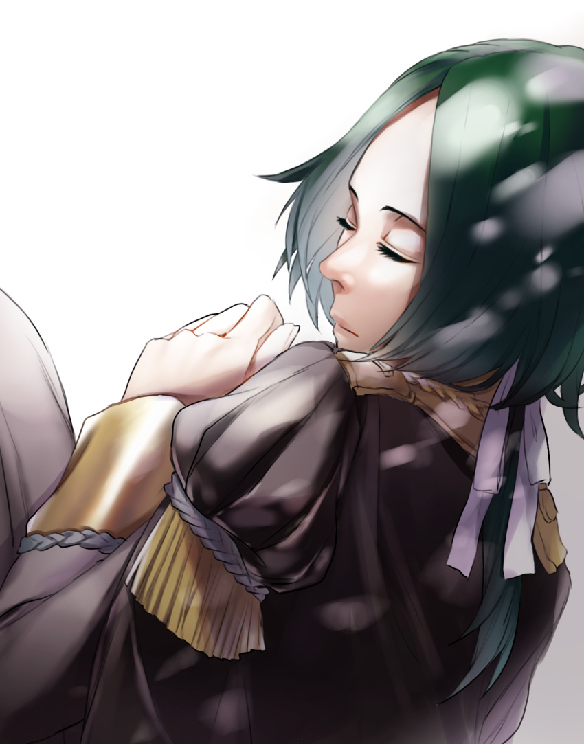 1boy closed_eyes epaulettes fire_emblem fire_emblem:_three_houses garreg_mach_monastery_uniform green_hair highres linhardt_von_hevring long_hair low_ponytail solo upper_body white_background yuasaemi