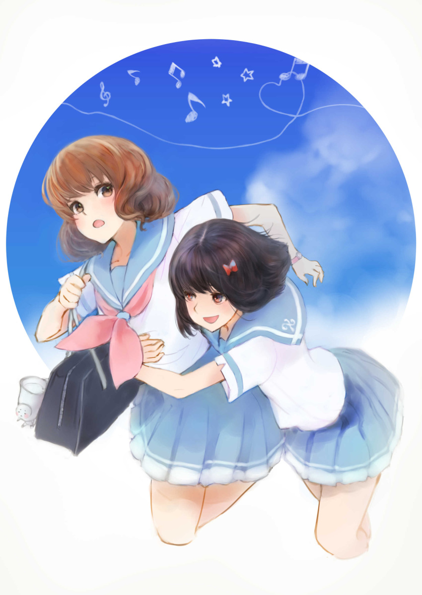 2girls absurdres bag bana_(stand_flower) black_hair blue_sailor_collar blue_sky bow brown_eyes brown_hair hair_bow hair_ribbon hibike!_euphonium highres hisaishi_kanade multiple_girls musical_note neckerchief open_mouth oumae_kumiko pleated_skirt red_eyes red_neckwear red_ribbon ribbon sailor_collar school_bag school_uniform serafuku short_hair short_sleeves skirt sky smile