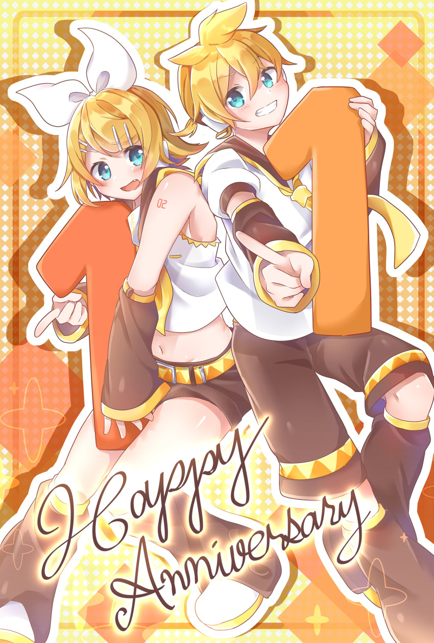 1boy 1girl absurdres anniversary arm_warmers bangs bare_shoulders black_collar black_legwear black_shorts blonde_hair blue_eyes bow brother_and_sister collar commentary crop_top full_body hair_bow hair_ornament hairclip headphones highres holding index_finger_raised kagamine_len kagamine_rin leg_warmers midriff navel neckerchief necktie number object_hug sailor_collar school_uniform shirt shoes short_hair short_ponytail short_sleeves shorts shoulder_tattoo siblings side-by-side spiky_hair swept_bangs tatibanamarin tattoo twins vocaloid white_bow white_footwear white_shirt yellow_neckwear