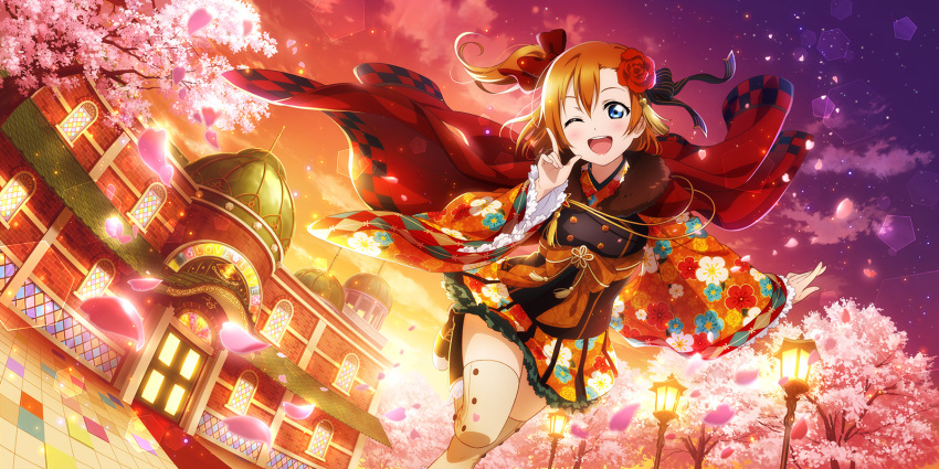 1girl artist_request bangs blue_eyes blush boots bow building cherry_blossoms clouds evening floral_print flower frilled_sleeves frills gradient_sky hair_bow hair_flower hair_ornament highres house japanese_clothes kousaka_honoka lamppost leg_up long_sleeves looking_at_viewer love_live! love_live!_school_idol_festival_all_stars love_live!_school_idol_project official_art one_eye_closed one_side_up open_mouth orange_hair orange_sky outdoors petals scenery short_hair sky smile solo spring_(season) sunset teeth thigh-highs tree wide_sleeves zettai_ryouiki