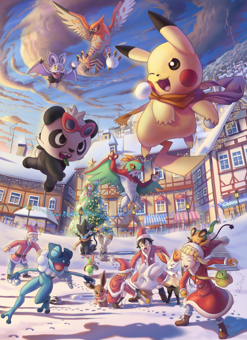 2boys 2girls animal antenna_(specie) bangs bear black_belt black_hair blonde_hair braixen brown_footwear bunnelby chespin christmas christmas_tree commentary_request creatures_(company) day dedenne digging_(specie) eevee eureka_(pokemon) evolution_(specie) fennekin fox frog frogadier game_freak gen_1_pokemon gen_4_pokemon gen_6_pokemon glasses gleam_eyes_(specie) gloves green_bag hair_between_eyes hat hawlucha highres ho-oh_(artist) human lamp legendary_pokemon lion loli long_hair luxray mouse nintendo noibat olm_digital orange_gloves orange_scarf order_(specie) outdoors pancham panda pikachu playful_(specie) pokemon pokemon_(anime) pokemon_(creature) pokemon_(game) pokemon_xy pokemon_xy_(anime) rabbit red_headwear santa_costume santa_hat satoshi_(pokemon) scarf scorching serena_(pokemon) shoes short_hair sitting smile snow sound_wave_(specie) spiny_nut tagme talonflame tv_tokyo winter wrestling_(specie) zygarde zygarde_core