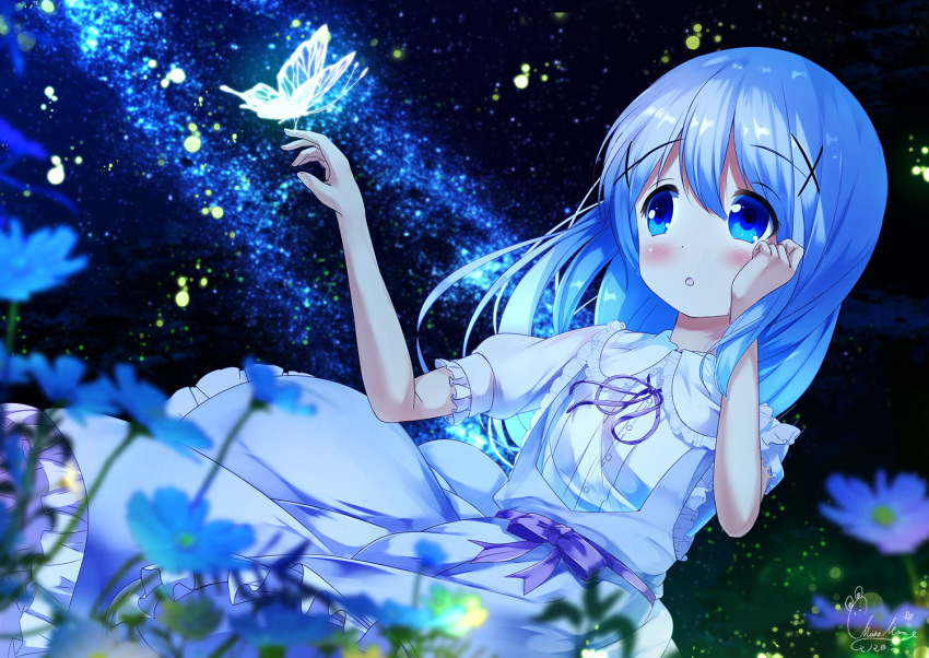 1girl :o bangs blue_dress blue_eyes blue_flower blue_hair blurry blurry_foreground blush bow bug butterfly chinomaron collared_dress commentary_request depth_of_field dress dress_shirt dutch_angle eyebrows_visible_through_hair flower frilled_dress frilled_shirt_collar frills gochuumon_wa_usagi_desu_ka? hair_between_eyes hair_ornament hands_up insect kafuu_chino long_hair looking_away neck_ribbon night night_sky outdoors parted_lips puffy_short_sleeves puffy_sleeves purple_bow purple_ribbon ribbon shirt short_sleeves signature sky solo star_(sky) starry_sky transparent very_long_hair white_flower white_shirt x_hair_ornament