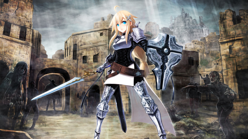 2girls 6+boys ahoge armor armored_boots belt blonde_hair blue_eyes boots breastplate castle commentary_request corset eyebrows_visible_through_hair fantasy fog gauntlets hair_ornament highres kiyukiakisasa knight long_hair multiple_boys multiple_girls original outstretched_arms rubble ruins sheath shield shoulder_armor sword thigh-highs thigh_boots torn_clothes undead unsheathed weapon zombie zombie_pose