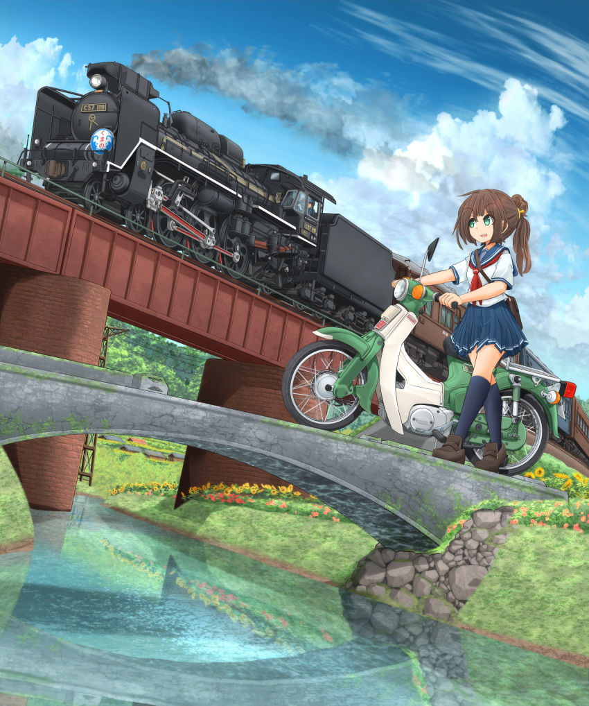 1girl 1other absurdres bag black_footwear blouse blue_sky bridge brown_hair carrying clouds cloudy_sky commentary_request daisy day dutch_angle eyebrows_visible_through_hair flower green_eyes ground_vehicle hair_ribbon highres honda kneehighs loafers locomotive mikeran_(mikelan) miniskirt motor_vehicle motorcycle navy_blue_legwear navy_blue_skirt necktie open_mouth orange_ribbon original outdoors partial_commentary pleated_skirt ponytail print_skirt red_neckwear reflection ribbon river satchel school_uniform serafuku shoes short_sleeves single_horizontal_stripe skirt sky smile smoke standing steam_locomotive summer train utility_pole wallpaper white_blouse