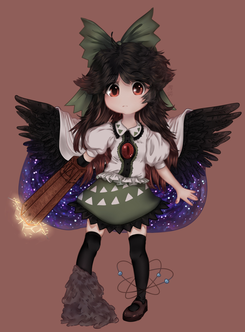 1girl arm_cannon atom bangs bird_wings bow brown_hair cape feathered_wings frills full_body green_bow green_skirt long_hair looking_at_viewer puffy_short_sleeves puffy_sleeves red_eyes reiuji_utsuho skirt solo thigh-highs third_eye touhou weapon white_cape white_shirt wings yuurenkyouko