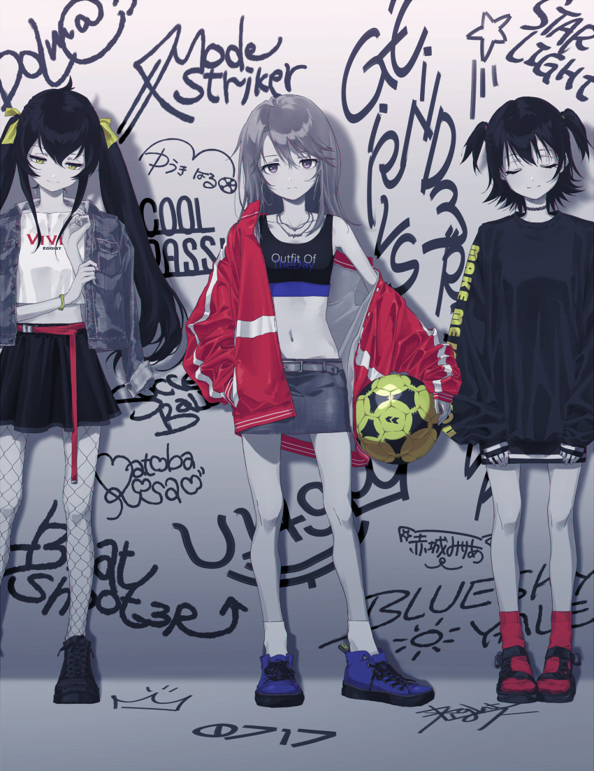 3girls :| absurdres against_wall akagi_miria ball bare_shoulders belt black_footwear black_hair black_skirt blue_footwear bracelet choker closed_eyes closed_mouth collarbone commentary_request denim denim_jacket denim_skirt earrings english_text fishnet_legwear fishnets football_(object) full_body graffiti hair_ribbon hand_in_pocket highres holding holding_ball hoop_earrings idolmaster idolmaster_cinderella_girls jacket jacket_on_shoulders jewelry jitome light_oooo long_hair long_sleeves looking_at_viewer looking_down matoba_risa miniskirt multiple_girls muted_color navel necklace open_clothes open_jacket oversized_clothes red_legwear removing_jacket ribbon sandals shoes short_hair short_twintails skirt sleeves_past_wrists sneakers socks standing star stomach tank_top track_jacket twintails violet_eyes white_legwear yellow_eyes yellow_ribbon yuuki_haru