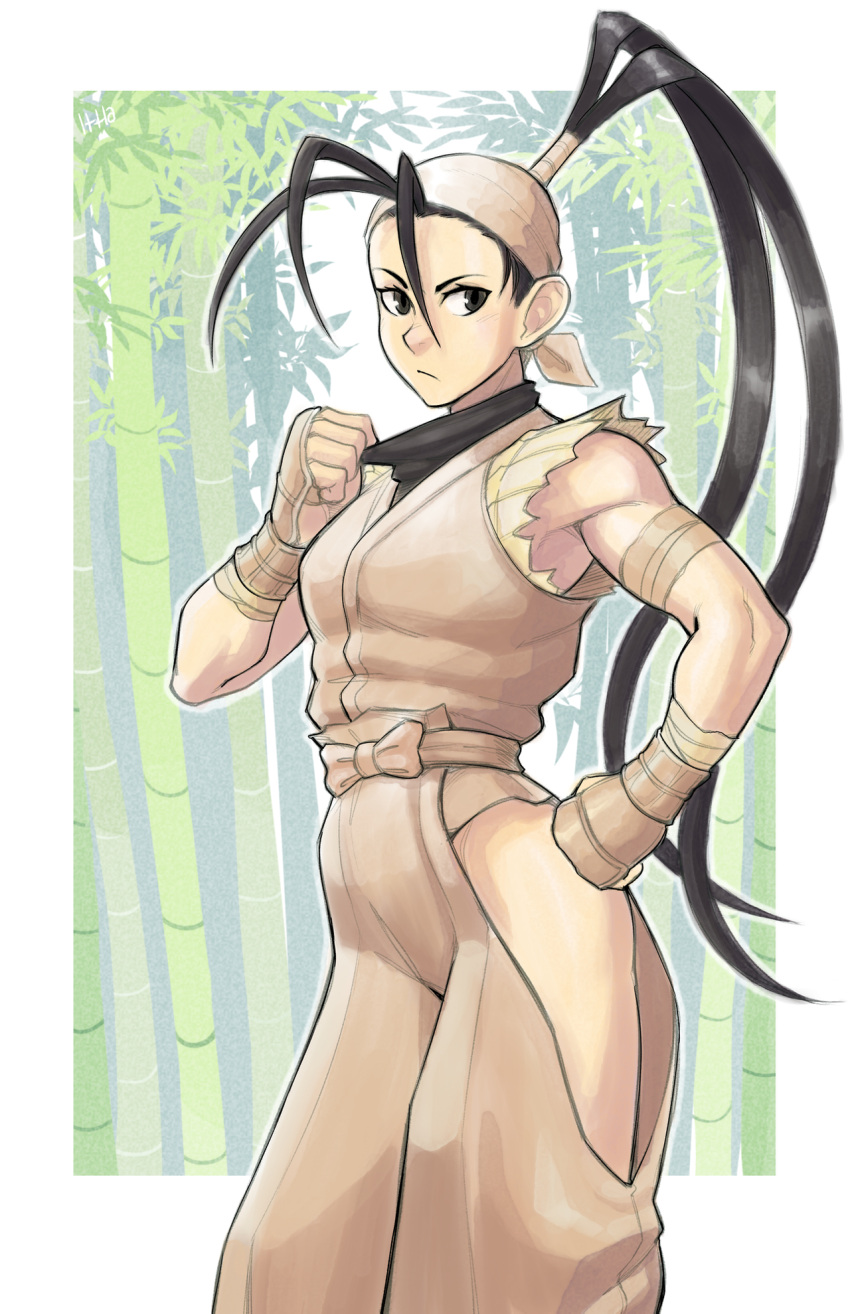1girl antenna_hair armor bamboo bamboo_forest bandaged_arm bandaged_wrist bandages bandana black_hair dougi fingerless_gloves forehead forest gloves grey_eyes hand_on_hip high_ponytail highres hip_vent ibuki_(street_fighter) ittla japanese_armor japanese_clothes kote long_hair mask mask_removed nature ninja sleeveless solo street_fighter street_fighter_iii_(series) toned very_long_hair