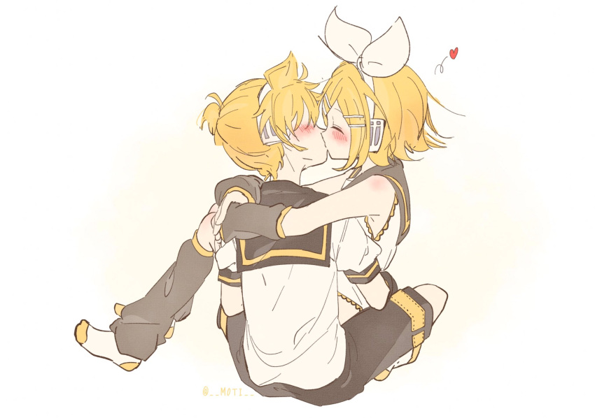 1boy 1girl arms_around_neck back bare_shoulders blonde_hair blue_eyes blush bow brother_and_sister carrying closed_eyes detached_sleeves flying_heart hair_bow hair_ornament hairclip headphones headset heart highres hug incest kagamine_len kagamine_rin kiss leg_warmers m0ti princess_carry sailor_collar shirt short_ponytail shorts siblings sitting sitting_on_person sketch sleeveless sleeveless_shirt twincest twins vocaloid