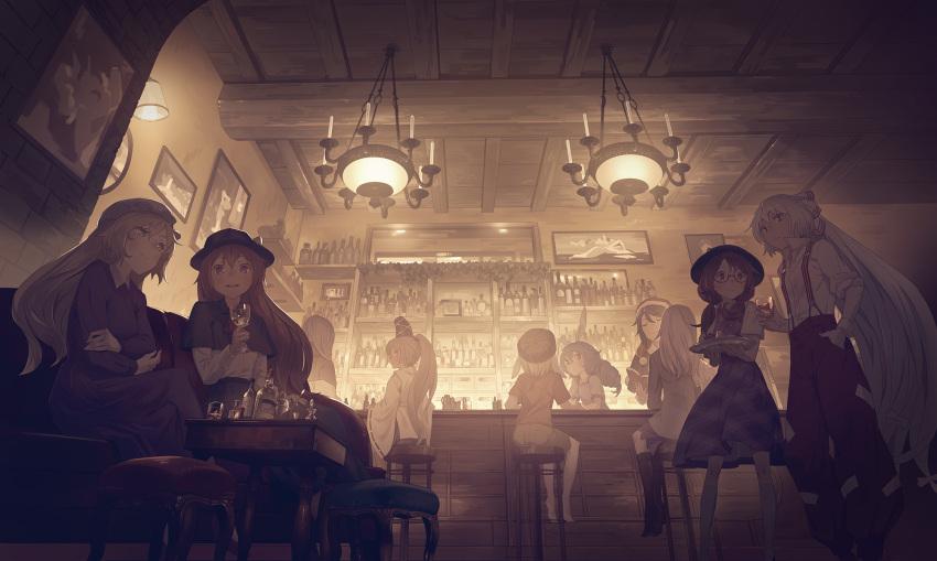 6+girls bar bottle coffee_table couch doremy_sweet fujiwara_no_mokou hat highres kishin_sagume kumoi_ichirin long_hair maribel_hearn mononobe_no_futo multiple_girls picture_frame ringo_(touhou) seiran_(touhou) sitting standing touhou usami_renko usami_sumireko