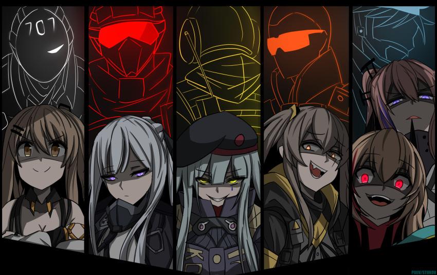 5boys 6+girls ak-12_(girls_frontline) brown_hair evil_smile fuze_(rainbow_six_siege) girls_frontline glowing glowing_eyes hair_ornament hairclip highres hk416_(girls_frontline) jaeger_(rainbow_six_siege) k-2_(girls_frontline) m4_sopmod_ii_(girls_frontline) maverick_(rainbow_six_siege) military military_uniform monochrome multiple_boys multiple_girls pulse_(rainbow_six_siege) rainbow_six_siege red_eyes side_ponytail smile st_ar-15_(girls_frontline) stukov ump45_(girls_frontline) uniform vigil_(rainbow_six_siege) yellow_eyes