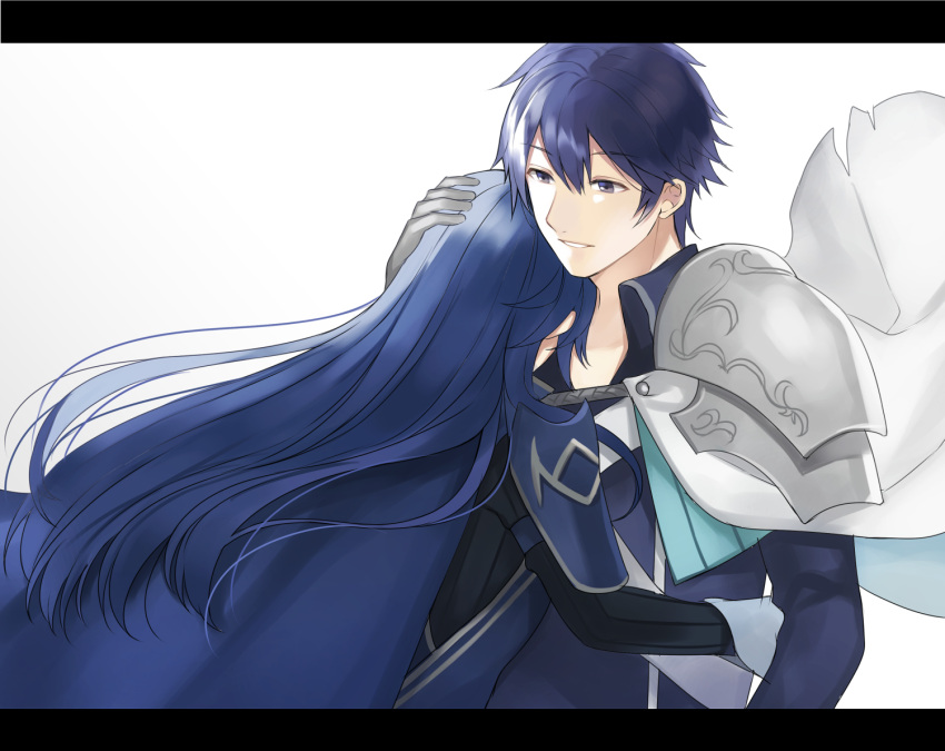 1boy 1girl adult armor aym_(ash3ash3ash) blue_eyes blue_hair cape chrom_(fire_emblem) closed_eyes commentary_request family father_and_daughter fire_emblem fire_emblem:_kakusei fire_emblem_awakening fire_emblem_heroes fire_emblem_warriors gloves hug intelligent_systems krom letterboxed long_hair lucina lucina_(fire_emblem) nintendo open_mouth short_hair simple_background smile super_smash_bros. sword teenage tiara weapon