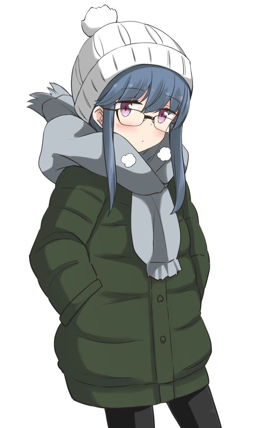 1girl absurdres aikawa_ryou black_legwear blush commentary_request eyebrows_visible_through_hair glasses green_jacket grey_scarf hands_in_pockets highres jacket looking_at_viewer scarf shima_rin simple_background solo white_background white_headwear winter_clothes yurucamp
