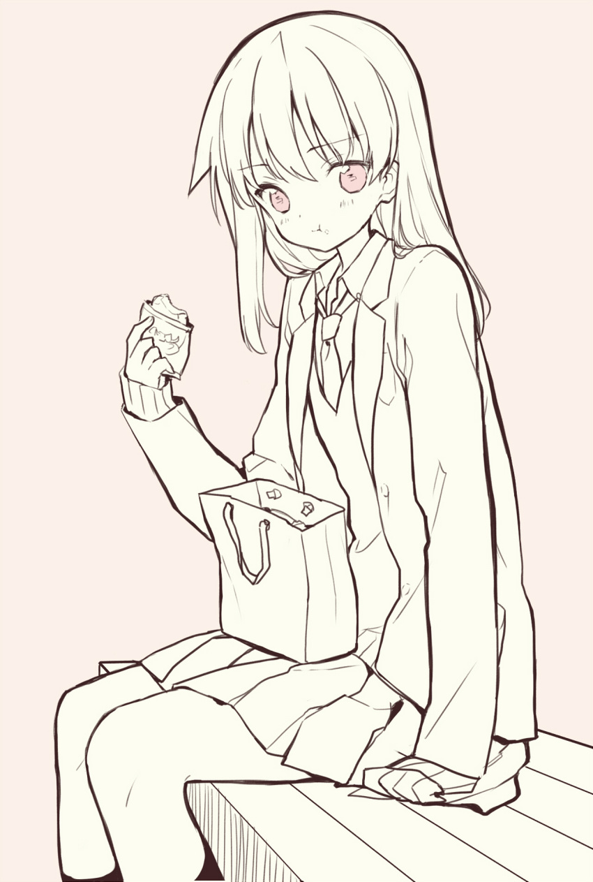 1girl :t arm_support bag bangs blazer blush brown_background character_request closed_mouth collared_shirt eating eyebrows_visible_through_hair food food_on_face hair_between_eyes highres holding holding_food itsumi_(itumiyuo) jacket long_hair long_sleeves monochrome necktie on_bench open_blazer open_clothes open_jacket paper_bag pleated_skirt red_eyes saki school_uniform shirt simple_background sitting sitting_on_bench skirt sleeves_past_wrists socks solo sweater_vest very_long_hair