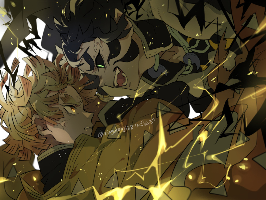 2boys action agatsuma_zenitsu battle black_hair black_sclera blonde_hair clenched_teeth coat demon electricity face-to-face facial_mark fangs glaring green_eyes haori japanese_clothes jewelry kaigaku kimetsu_no_yaiba multiple_boys necklace open_mouth profile ringorenji short_hair simple_background teeth thick_eyebrows twitter_username uniform veins white_background yellow_eyes