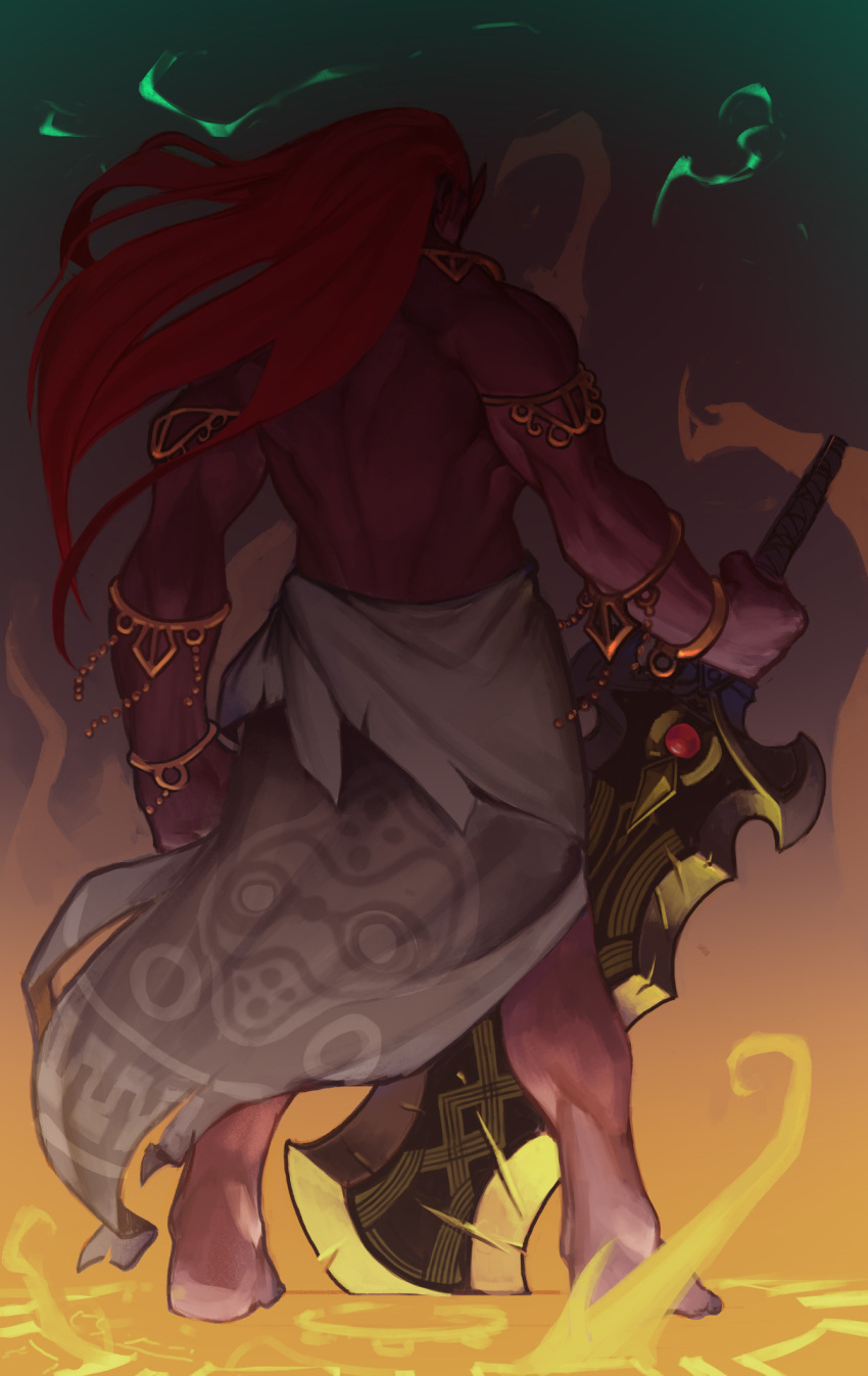 1boy armlet barefoot blnk bracelet clenched_hand commentary dark_skin english_commentary from_behind full_body ganondorf gerudo hand_on_hilt highres huge_weapon jewelry long_hair male_focus manly muscle planted_sword planted_weapon pointy_ears redhead sarong solo sword the_legend_of_zelda the_legend_of_zelda:_breath_of_the_wild the_legend_of_zelda:_breath_of_the_wild_2 topless weapon