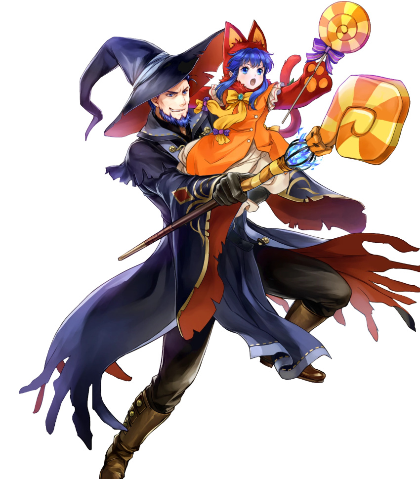 1boy 1girl alternate_costume animal_hat beard belt blue_eyes blue_hair boots bow candy carrying cat_hat cat_paws cat_tail facial_hair father_and_daughter fire_emblem fire_emblem:_the_blazing_blade fire_emblem_heroes food full_body gloves halloween halloween_costume hat hector_(fire_emblem) highres lilina_(fire_emblem) long_hair official_art open_mouth paws pumpkin staff tail teeth transparent_background wada_sachiko witch_hat