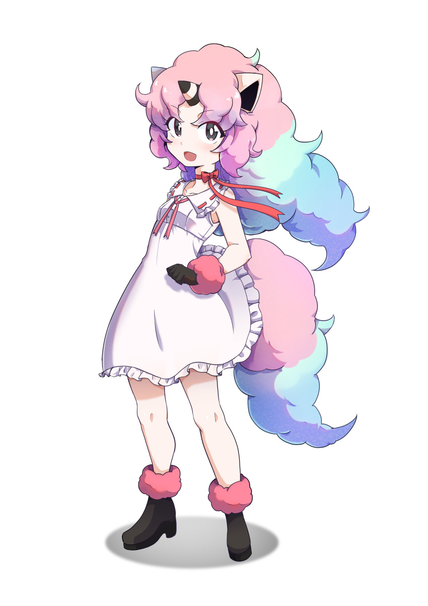 1girl 9-san absurdres animal_ears black_eyes black_footwear black_gloves blue_hair boots dress dress_lift full_body galarian_ponyta gloves highres horn horse_ears horse_tail long_hair multicolored_hair open_mouth personification pink_hair pokemon pokemon_(game) ponyta short_dress simple_background smile solo sundress tail two-tone_hair white_background white_dress