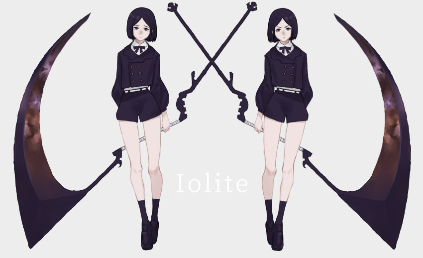 0141moonjelly 2girls arm_behind_back black_eyes bow closed_mouth grey_background highres holding holding_scythe holding_weapon huge_weapon multiple_girls original purple_bow purple_hair scythe short_hair shorts siblings simple_background twins weapon