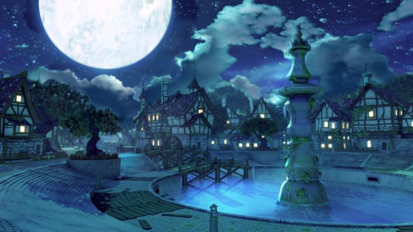 atelier_(series) atelier_ryza bridge clouds highres house moon no_humans pillar reflection reflective_water scenery sky star_(sky) starry_sky town tree water window