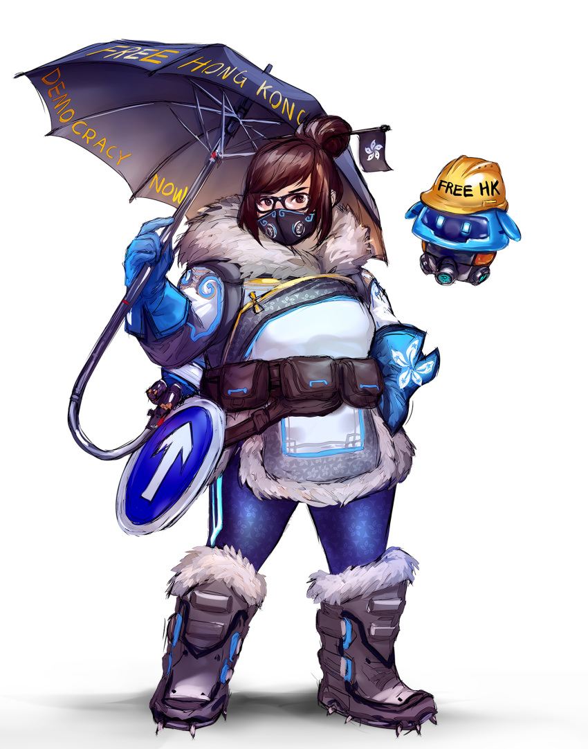 1girl black-framed_eyewear blue_gloves boots brown_eyes brown_hair coat drone english_commentary full_body fur-trimmed_jacket fur_boots fur_coat fur_trim glasses gloves hair_bun hair_ornament hair_stick half_mask hardhat helmet highres jacket mei_(overwatch) overwatch road_sign short_hair sign snow_boots snowball_(overwatch) spiked_boots standing umbrella wenqing_yan white_background winter_clothes winter_coat