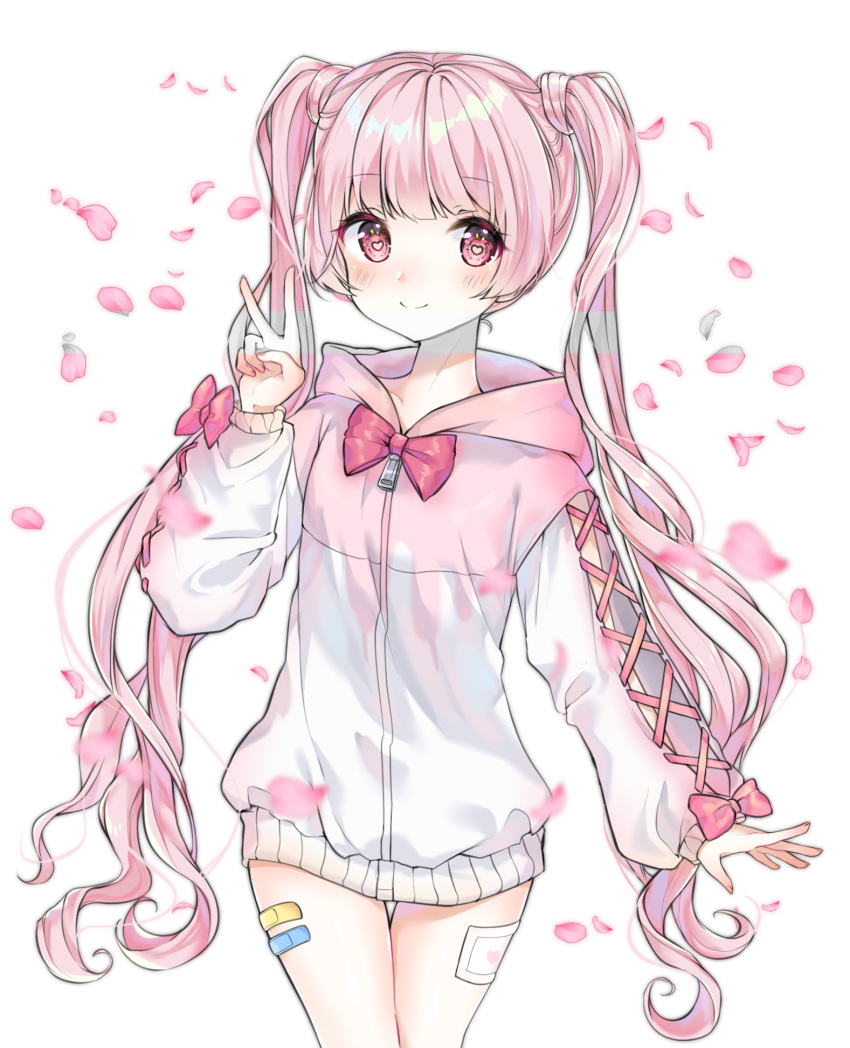 1girl bangs blush bow commission copyright_request eyebrows_visible_through_hair heart heart_in_eye highres jacket leaf long_hair long_sleeves pink_bow pink_eyes pink_jacket simple_background smile solo symbol_in_eye twintails urim_(paintur) v white_background