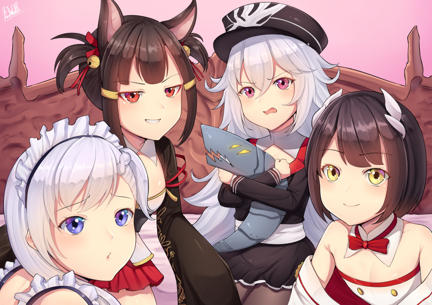 4girls :d absurdres akagi-chan_(azur_lane) animal_ears azur_lane band-width bare_shoulders bed belchan_(azur_lane) belfast_(azur_lane) bell black_hair black_legwear blue_eyes braid brown_hair commentary_request eyeshadow fox_ears fox_tail grin hair_ribbon hat hiei_(azur_lane) highres horns long_hair looking_at_viewer maid_headdress makeup multiple_girls multiple_tails off_shoulder one_side_up open_mouth pantyhose peaked_cap pleated_skirt red_eyes ribbon short_hair silver_hair simple_background single_braid skirt smile tail twintails yellow_eyes zeppelin-chan_(azur_lane)
