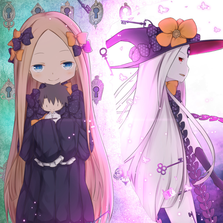 2girls abigail_williams_(fate/grand_order) bangs black_bow black_dress black_gloves black_headwear blonde_hair blue_eyes bow bug butterfly character_doll closed_mouth commentary_request doll dress elbow_gloves fate/grand_order fate_(series) forehead fujimaru_ritsuka_(male) gloves hair_bow hat highres holding holding_doll insect key keyhole long_hair long_sleeves looking_at_viewer multiple_girls orange_bow pale_skin parted_bangs parted_lips polka_dot polka_dot_bow print_bow profile red_eyes revealing_clothes silver_hair skull_print sleeves_past_fingers sleeves_past_wrists smile star star_print su_guryu very_long_hair witch_hat