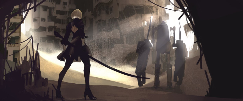 0141moonjelly 1girl back black_dress black_gloves building dress feather-trimmed_sleeves fighting_stance gloves high_heels holding holding_sword holding_weapon light_rays nier_(series) nier_automata outdoors robot sand short_hair standing sword thigh-highs weapon white_hair yorha_no._2_type_b