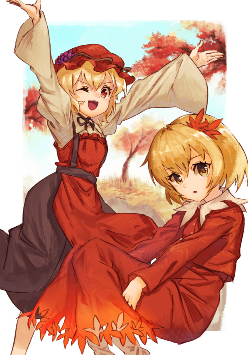 2girls ;d \o/ aki_minoriko aki_shizuha apron arms_up autumn_leaves black_skirt blonde_hair dress food fruit grapes hair_ornament hat highres leaf_hair_ornament long_sleeves mob_cap multiple_girls one_eye_closed open_mouth outstretched_arms red_dress red_eyes red_headwear shirt short_hair siblings sisters skirt smile touhou tree yanyan_(shinken_gomi) yellow_eyes