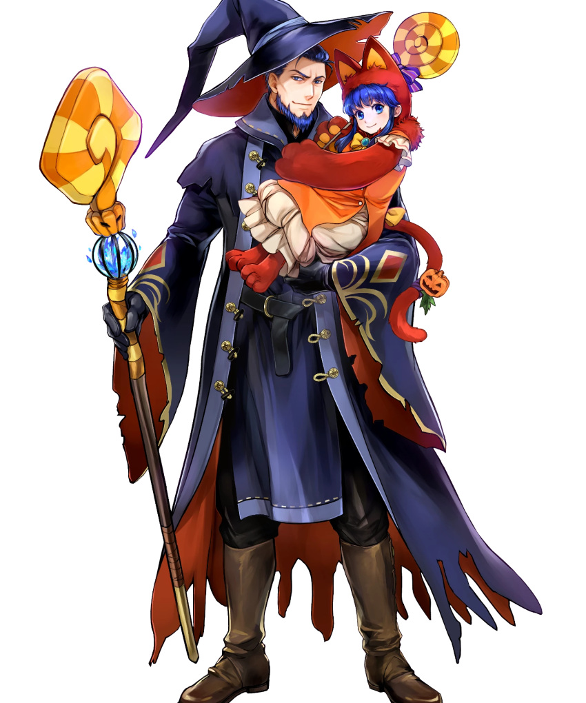 1boy 1girl alternate_costume animal_hat beard belt blue_eyes blue_hair boots candy carrying cat_hat cat_paws cat_tail facial_hair father_and_daughter fire_emblem fire_emblem:_the_blazing_blade fire_emblem_heroes food full_body gloves halloween halloween_costume hat hector_(fire_emblem) highres lilina_(fire_emblem) long_hair official_art paws pumpkin staff tail transparent_background wada_sachiko witch_hat