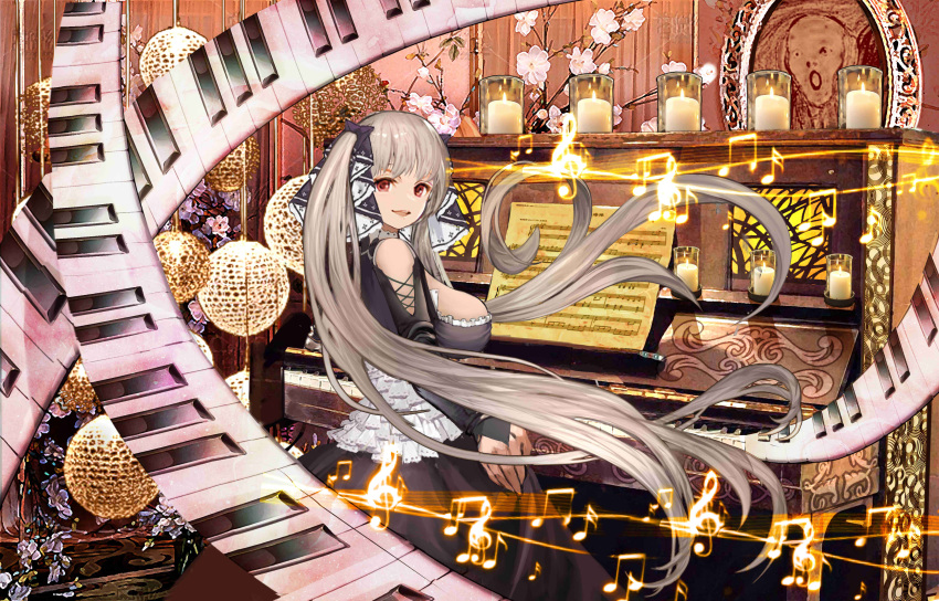 1girl absurdres azur_lane bare_shoulders beamed_eighth_notes breasts candle doily dress eighth_note fine_art_parody flower formidable_(azur_lane) frilled_dress frills grey_hair gudadan hair_ribbon highres instrument large_breasts long_hair looking_back musical_note parody piano red_eyes ribbon sheet_music sideboob sitting sixteenth_note smile solo the_scream treble_clef twintails two-tone_dress two-tone_ribbon very_long_hair