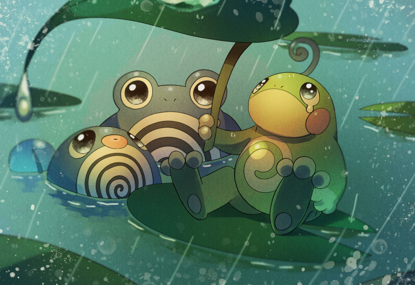 black_eyes blue_eyes blush_stickers closed_mouth full_body gen_1_pokemon gen_2_pokemon hand_up highres holding leaf leaf_umbrella lily_pad looking_at_viewer looking_up no_humans partially_submerged pokemon pokemon_(creature) politoed poliwag poliwhirl rain sitting swimming tears water yukifuri_tsuyu