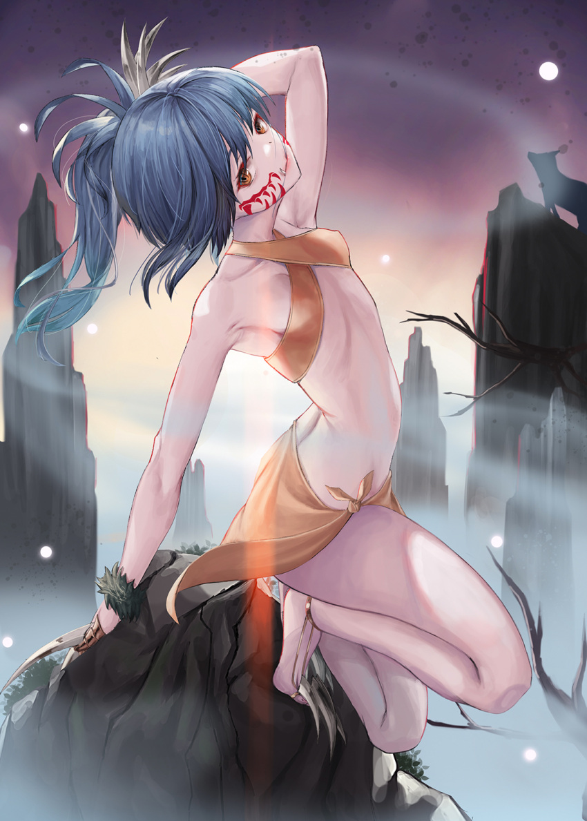 1girl arm_up barefoot bikini blue_hair brown_bikini brown_eyes closed_mouth criss-cross_halter facial_mark fangs fangs_out floating_hair halterneck head_tilt highres leaning_back long_hair looking_at_viewer nekobell original outdoors sarong solo swimsuit