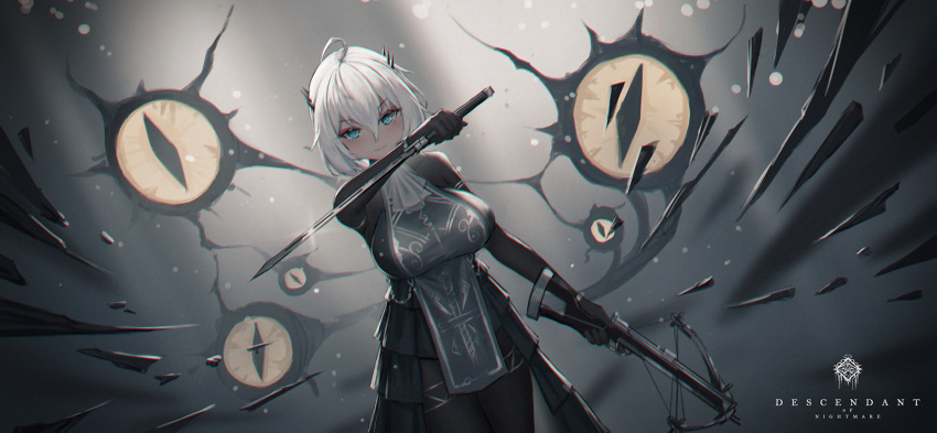 1girl black_eyes blue_eyes blush bow_(weapon) breasts crossbow cthulhu_mythos dual_wielding extra_eyes eyebrows_visible_through_hair hair_between_eyes highres holding holding_crossbow holding_sword holding_weapon large_breasts original short_hair smile solo sword weapon white_hair yurichtofen