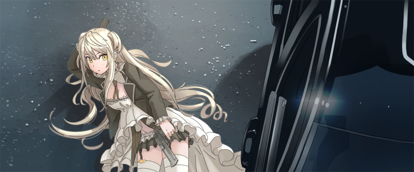 1girl bangs black_jacket black_skirt blazer blonde_hair breasts car coattails cowboy_shot deadpool_(movie) desert_eagle desert_eagle_(girls_frontline) detached_collar dress dual_wielding finger_on_trigger frilled_dress frilled_sleeves frills garter_straps girls_frontline ground_vehicle gun hair_between_eyes handgun holding holding_gun holding_weapon jacket long_sleeves microskirt mole mole_under_eye motor_vehicle open_blazer open_clothes open_jacket parody pistol skirt small_breasts solo tab_(tabkun) thigh-highs two_side_up weapon white_dress white_legwear yellow_eyes