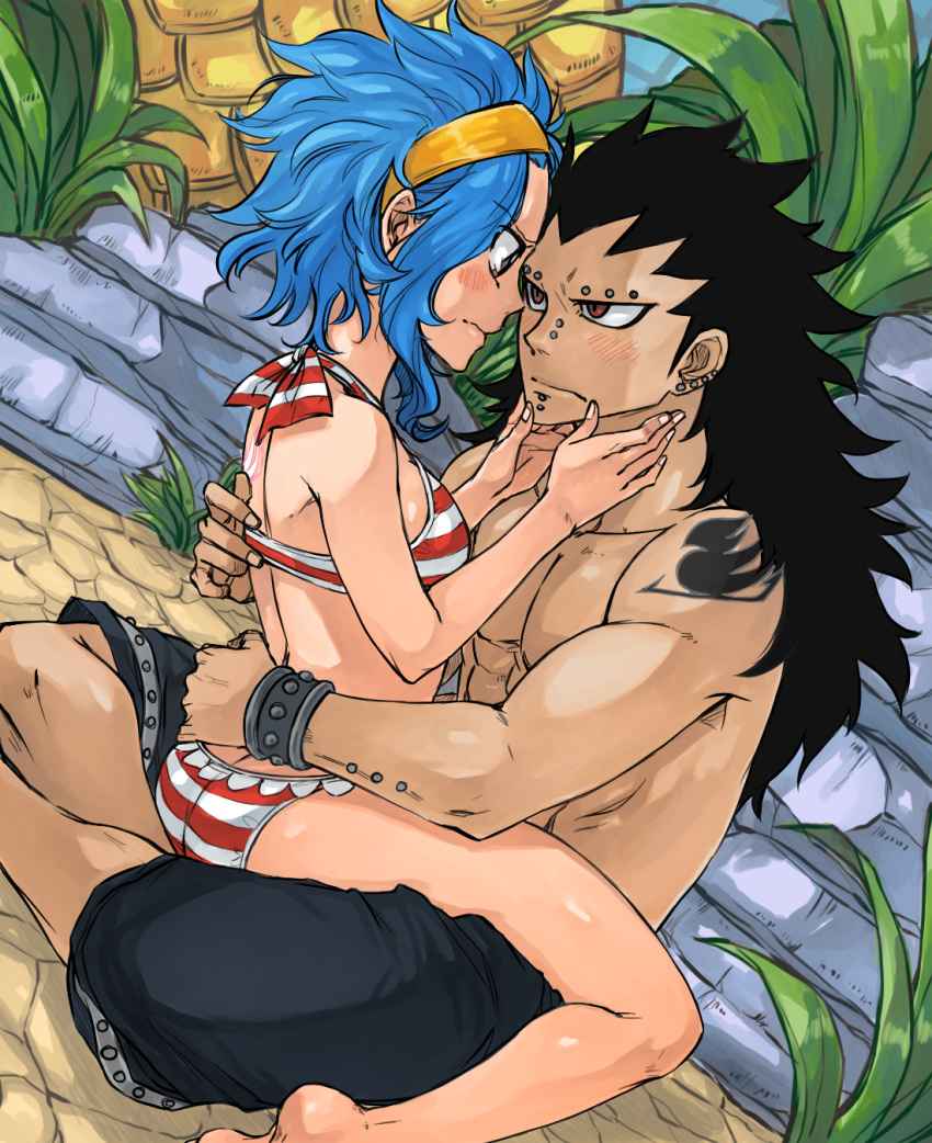 1boy 1girl arm_piercing barefoot bikini black_hair blue_hair blush bracelet brown_eyes chin_piercing closed_mouth couple ear_piercing eye_contact eyebrow_piercing fairy_tail gajeel_redfox girl_on_top hairband halterneck highres jewelry levy_mcgarden long_hair looking_at_another nose_piercing piercing red_eyes rusky shiny shiny_skin spiky_hair striped striped_bikini swimsuit very_long_hair yellow_hairband