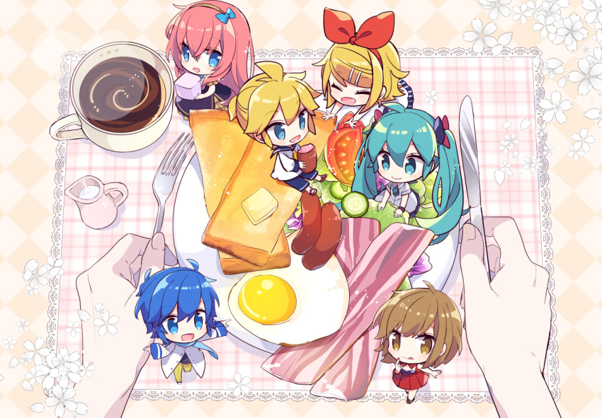 2boys 4girls :d :q ^_^ adapted_costume aqua_eyes aqua_hair bacon blonde_hair blue_bow blue_eyes blue_hair blue_scarf bow breakfast brown_eyes brown_hair bug butterfly chibi closed_eyes coat coffee coffee_cup commentary cream cucumber cucumber_slice cup diamond_(shape) disposable_cup dress eating finger_to_mouth flower food fork from_above hair_bow hair_ornament hairclip happy hatsune_miku holding holding_food holding_fork holding_knife in_food insect kagamine_len kagamine_rin kaito knife lace lettuce long_hair long_sleeves looking_at_viewer megurine_luka meiko miniboy minigirl multiple_boys multiple_girls napkin necktie open_mouth out_of_frame outstretched_arms pants partially_unbuttoned pink_hair plate ponytail pov pov_hands red_bow red_nails sailor_collar sausage scarf shoes short_hair short_sleeves shorts smile spread_arms steam sugar_cube sunny_side_up_egg toast tomato tongue tongue_out twintails very_long_hair vocaloid yoshiki