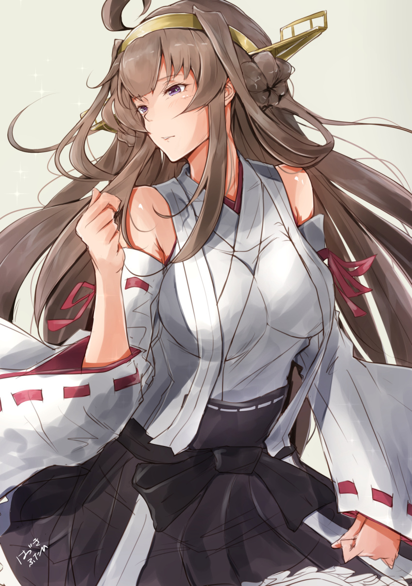 1girl ahoge artist_name black_skirt breasts brown_hair clenched_hands cowboy_shot detached_sleeves double_bun hairband hazuki_futahi headgear highres kantai_collection kongou_(kantai_collection) large_breasts long_hair looking_to_the_side nontraditional_miko remodel_(kantai_collection) simple_background skirt sollo violet_eyes white_background