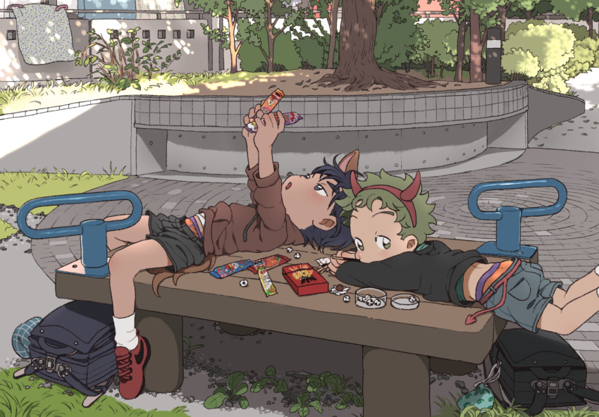 2boys backpack bag bench blue_eyes blue_hair brand_name_imitation candy child fake_horns food green_eyes green_hair halloween looking_at_viewer lying male_focus multiple_boys on_bench on_stomach original outdoors pants_pull pocky randoseru shade short_shorts shorts taremayuzou underwear