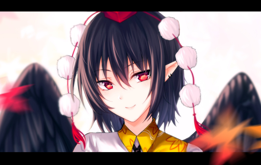 1girl bangs black_hair black_wings commentary ear_piercing eyebrows_visible_through_hair feathered_wings hair_between_eyes hat koissa leaf_print letterboxed looking_at_viewer piercing pointy_ears pom_pom_(clothes) portrait red_eyes shameimaru_aya shirt short_hair smile solo tassel tokin_hat touhou white_background white_shirt wings