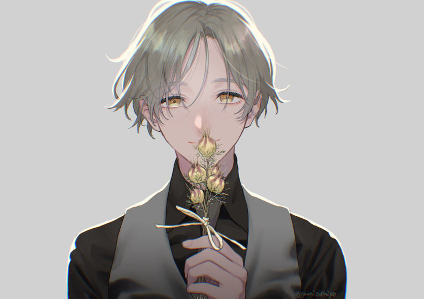 1boy backlighting black_shirt closed_mouth collared_shirt commentary_request eyelashes flower formal freckles grey_background grey_hair grey_neckwear grey_vest hair_strand herb_bundle highres holding holding_flower looking_at_viewer male_focus necktie original portrait ribbon shirt simple_background smile solo suit tsuyu_(gunjooo9) vest yellow_eyes