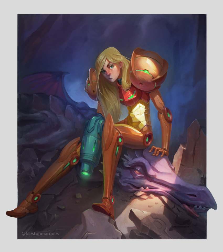 1girl 1other :/ after_battle alien arm_cannon arm_support blonde_hair blurry blurry_background border dark_background debris defeat dinosaur fangs green_eyes highres human kleston_marques koei_tecmo long_hair looking_at_viewer metroid monster nintendo nintendo_ead power_armor pterodactyl retro_studios ridley rock samus_aran sitting sitting_on_person tongue tongue_out varia_suit weapon wings